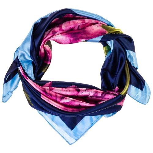 Шелковый платок на шею/Платок шелковый на голову/женский/Шейный шелковый платок/стильный/модный /21kdgPL903008-2vr синий,розовый/Vittorio Richi/80% шелк,20% полиэстер/90x90