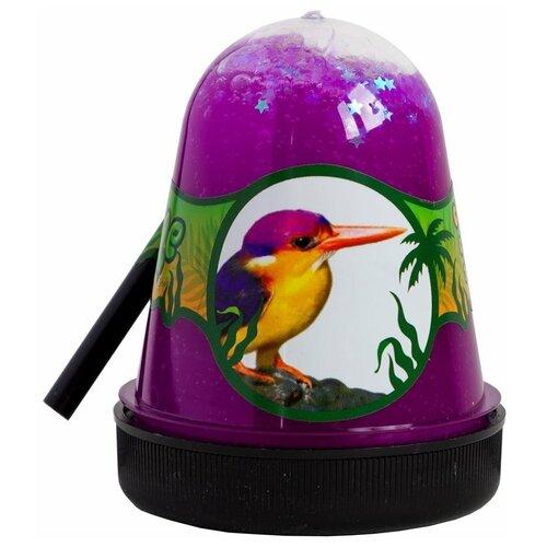 Лизун SLIME Jungle Птичка Зимородок с белыми звездочками (S300-28) фиолетовый