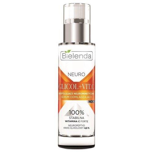 Купить Bielenda Neuro Glicol+Vit.C Отшелушивающая нейропептидная омолаживающая сыворотка для лица ночная, 30 мл
