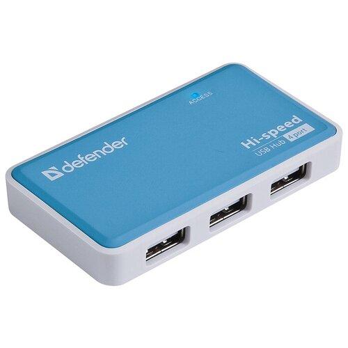 USB-концентратор Defender Quadro Power (83503), разъемов: 4, синий
