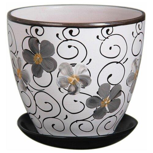 Горшок Художественная керамика Фиалка дневная с подставкой белый/черный