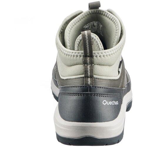 Ботинки водонепроницаемые для походов на природе женские NH150 Mid WP, размер: 38, цвет: Серый Хаки/Шалфейный Зеленый QUECHUA Х Декатлон