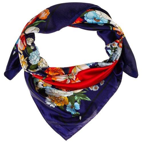 Шелковый платок на шею/Платок шелковый на голову/женский/Шейный шелковый платок/стильный/модный /21kdgPL902701-1vr красный,синий/Vittorio Richi/80% шелк,20% полиэстер/90x90