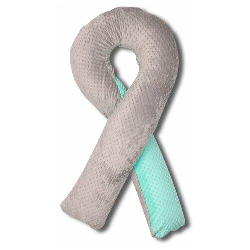 Фото - Подушка Body Pillow для беременных U холлофайбер, с наволочкой из плюша серый/мятный подушка body pillow для беременных u холлофайбер с наволочкой из хлопка коричневый с бежевыми вензелями
