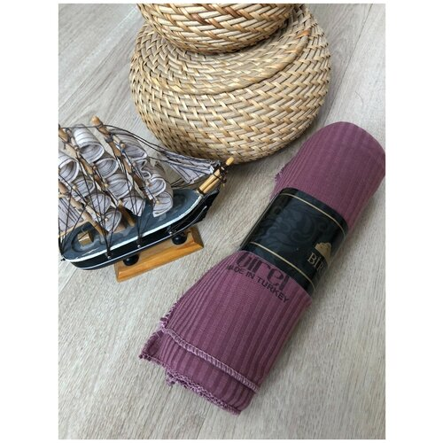 Палантин трикотаж 100*170 см полоска фиолетовый