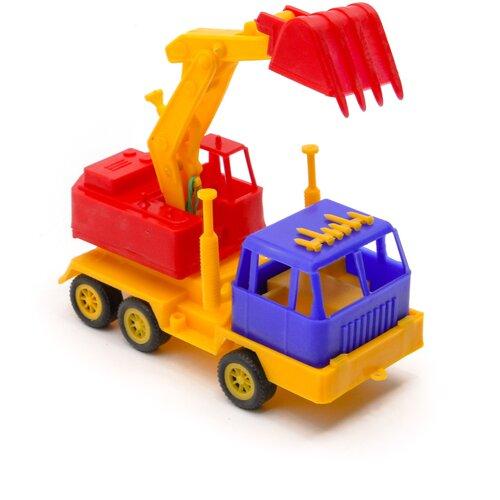 Детский экскаватор игрушка с подвижным ковшом MAXIMUS бульдозер игрушка / трактор игрушка / строительная техника игрушки / детская машина каталка для мальчиков / игрушка каталка / машинка детская каталка
