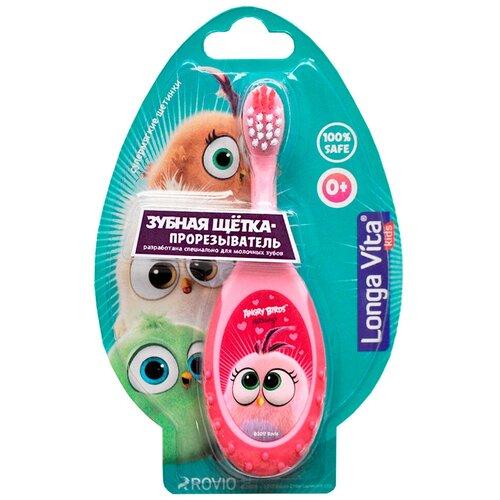 Детская зубная щетка- прорезыватель Longa Vita Angry Birds Hatchlings 0+ розовая детская зубная щетка 5 longa vita angry birds 1 мл