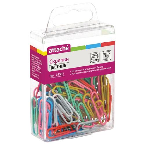 Купить Attache Скрепки (55367) 28 мм (100 шт.) разноцветный, Скрепки, кнопки