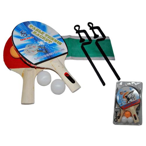 Фото - Набор для игры в настольный теннис. В комплекте: 2 ракетки, 3 шарика, стойки, сетка. Комплект запаян в слюду. :(SH-012): набор для игры в теннис abtoys 2 ракетки 2 мяча на блистере 43x21x4 5