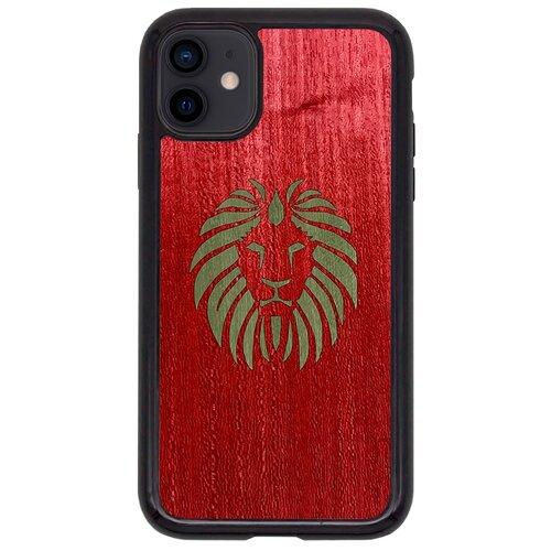 Чехол Timber&Cases для Apple iPhone 11 TPU WILD collection - Царь зверей/Лев (Красный - Зеленый Кото)