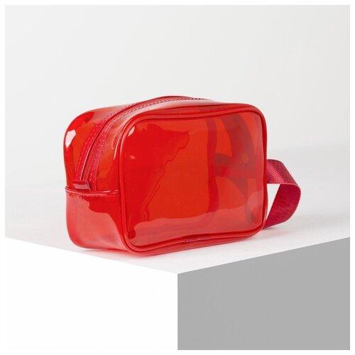 Косметичка ПВХ цветная, 22*7*14, отд на молнии, с ручкой, красный 4685893