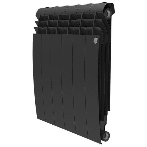 Радиатор секционный биметаллический Royal Thermo BiLiner 500 x6 подключение универсальное боковое Noir Sable радиатор отопления royal thermo биметаллический biliner 500 new noir sable 8 секций