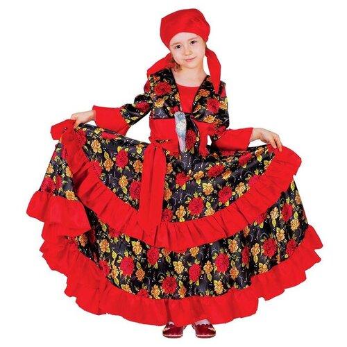 Карнавальный костюм Страна Карнавалия Цыганский, для девочки, красный, с двойной оборкой по юбке, размер 28, рост 110 см, Карнавальные костюмы  - купить со скидкой