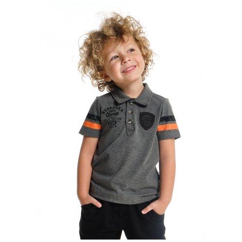 Купить Футболка-поло Mini Maxi 4246, цвет серый/черный, размер 116, Футболки и майки