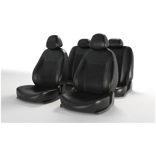 Универсальные чехлы на автомобильные сиденья CarFashion ATOM LEATHER черный/черный/черный