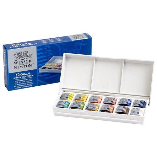 Купить Winsor & Newton Акварельные краски Cotman 12 цветов + кисть (390640), Краски