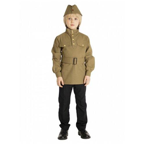 Купить Гимнастёрка с пилоткой и поясом (детская) (6763), 92-98 см., Вестифика, Карнавальные костюмы