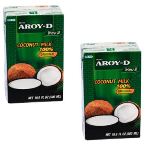 Фото - Молоко кокосовое Aroy-D Original 60% 17%, 1 л, 2 шт. aroy d масло 100% кокосовое extra virgin 0 18 л