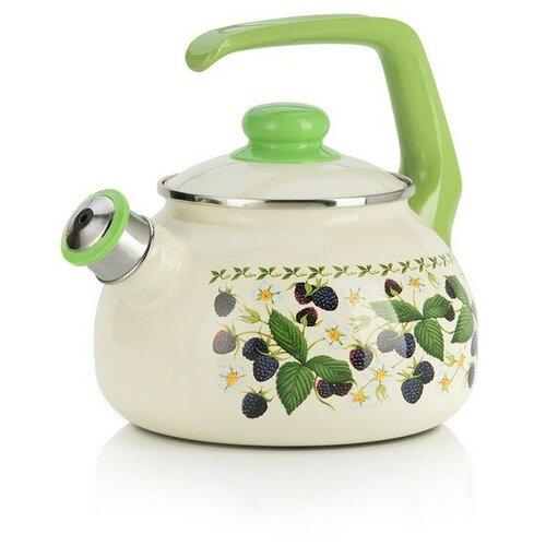 Фото - METROT Чайник со свистком Ежевика 2.5 л, бежевый/зеленый чайник эмалированный со свистком 2 5 л metrot таково кухня 115432