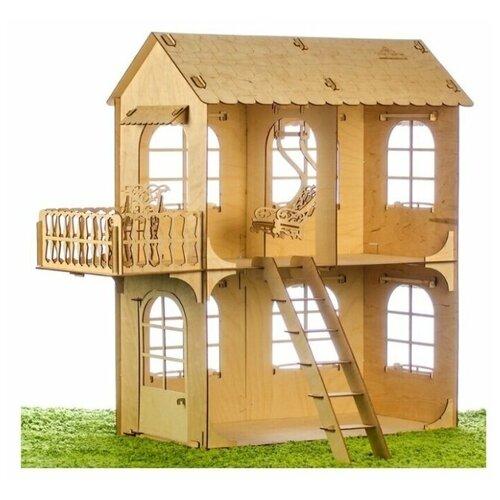 Деревянный кукольный домик для Барби с мебелью - средний домик КД-5 Теремок