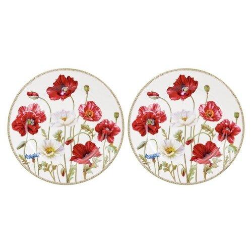 Elan gallery Набор тарелок для десертов Маки 19 см, 2 шт белый/красный недорого