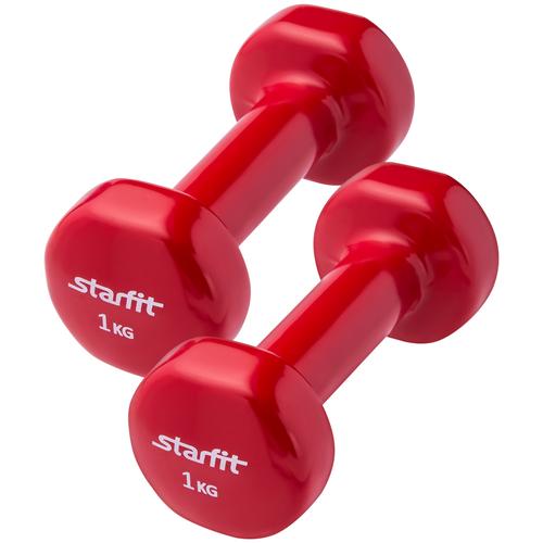 Гантель виниловая, комплект STARFIT DB-101 1 кг, красный, 2 шт гантель виниловая 1 кг go do 1 кг красный