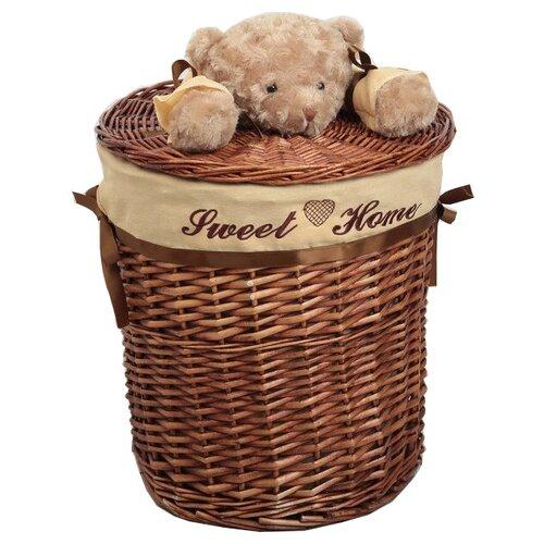 Фото - Доляна Корзина для белья круглая Медвежонок 45 х 45 х 55 см коричневый мочалка доляна медвежонок 4442512 коричневый красный