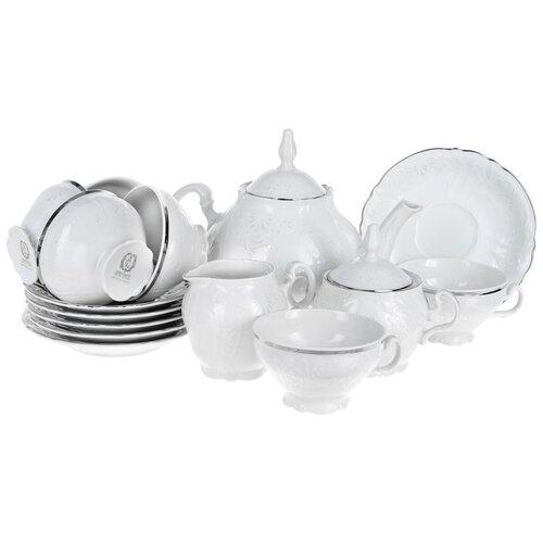 Чайный сервиз Деколь (отводка платина) На 6 персон 15 предметов недорого