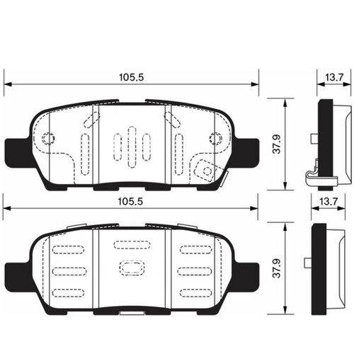 Дисковые тормозные колодки задние SANGSIN BRAKE SP1250 для Infiniti, Nissan, Renault, Suzuki (4 шт.)