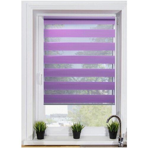 Рулонная штора с эффектом «день-ночь» LM DECOR Грация LB10-22 (фиолетовый), 64х215 см