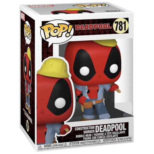 фигурка funko pop marvel deadpool 30th – construction worker deadpool bobble head 9 5 см Фигурка Funko POP! Marvel: Deadpool 30th: Construction Worker (Стикер Specail)