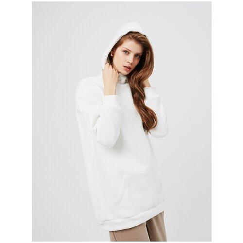 Худи женская KVATI HU17549M удлиненная утепленная с начесом/с вышивкой/с карманом/белая худи kvati