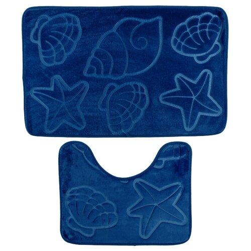 Комплект ковриков Доляна Ракушки объемные 40х50 см, 50х80 см (2355962/1203337/2987448) синий