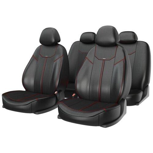 Универсальные чехлы на автомобильные сиденья CarFashion MUSTANG черный/черный/красный