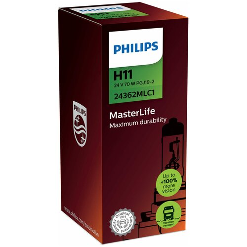 Лампа автомобильная галогенная Philips MasterLife 24362MLC1 H11 24V 70W 1 шт.