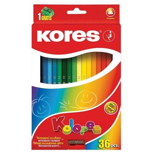 Карандаши цветные 36цв 3-гран,точилка Kores 93336.01