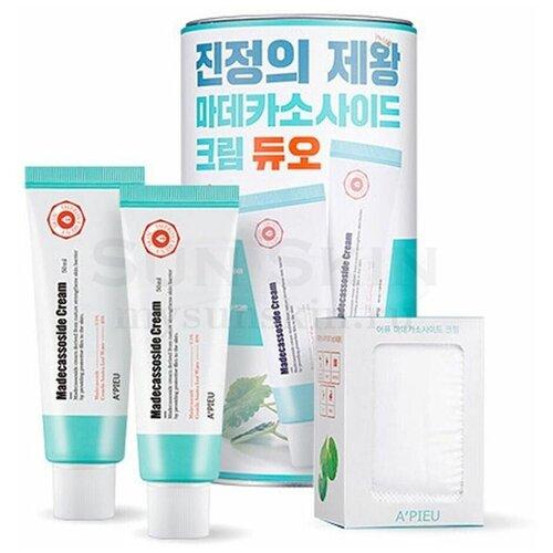 Apieu Madecassoside Cream Duo Восстанавливающий крем для лица с мадекассосидом, 2 шт + 2 набора спонжей + упаковка в виде копилки