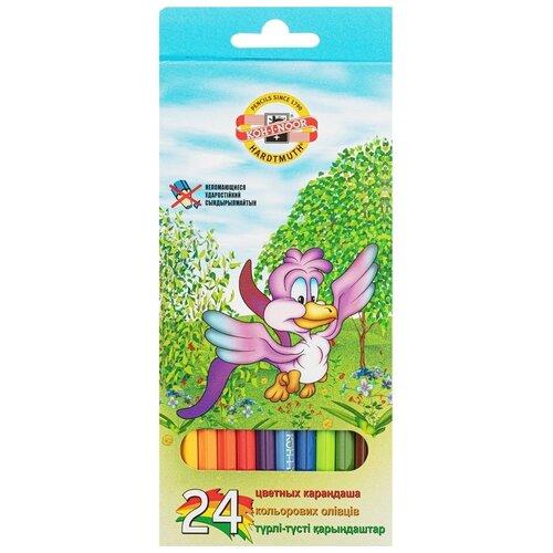 Купить Карандаши цветные KOH-I-NOOR Птицы, 24 шт, шестигранные (FD080267), Цветные карандаши
