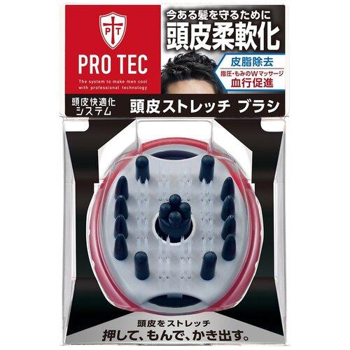 Расческа-щетка массажная, Lion Япония, Pro Tec, для мытья волос, c резиновыми пальчикам, средней жесткости