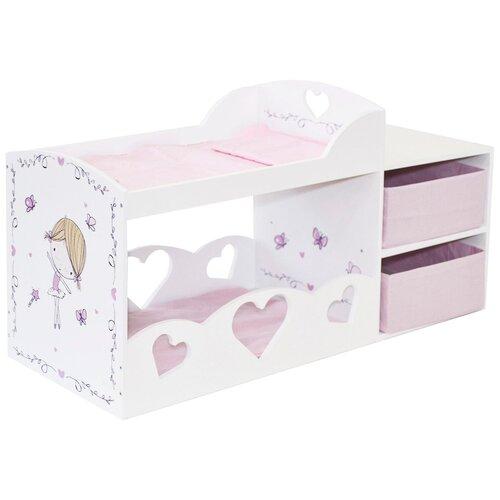 PAREMO Кроватка для кукол двухъярусная с системой хранения Пьемонт Альбертина (PRT220-05) белый/розовый
