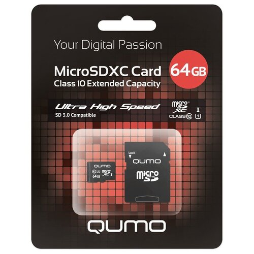 Фото - Карта памяти Qumo microSDXC class 10 UHS Class 1 + SD adapter 64 GB, чтение: 90 MB/s, запись: 20 MB/s, адаптер на SD карта памяти qumo microsdxc class 10 uhs class 1 sd adapter 64 gb адаптер на sd