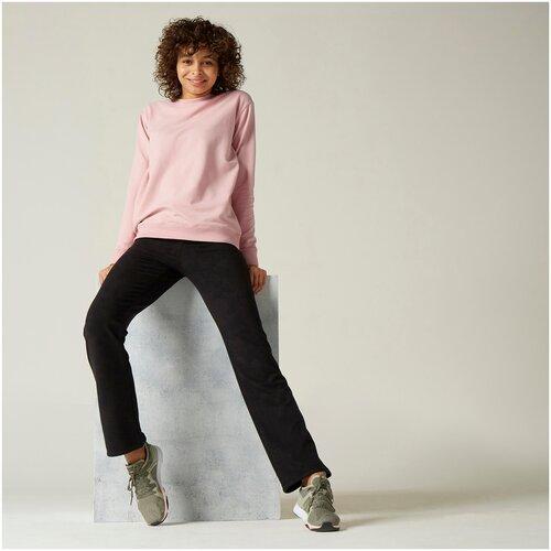 комплект домашний женский vienetta s secret цвет розовый 711026 5167 размер 3xl 54 Свитшот для фитнеса женский 100 розовый, размер: S, цвет: Розовый NYAMBA Х Декатлон