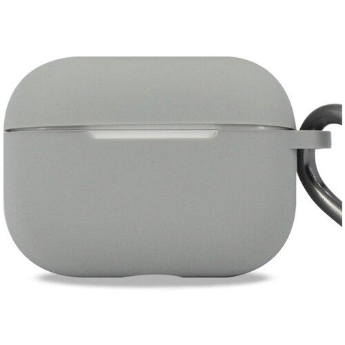 Чехол для наушников Apple AirPods Pro с карабином / Чехол на кейс Эпл ЭирПодс Про с поддержкой беспроводной зарядки / Силиконовый чехол для беспроводных блютуз наушников (Gray)