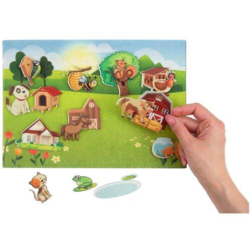 Купить Обучающая игра из фетра на липучках Кто где живет , Веселые липучки, Развивающие коврики