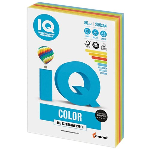 Фото - Бумага IQ Color A4 80 г/м² 250 лист. (5 цв. х 50 л.), интенсив RB02 бумага iq color a4 80 г м² 250 лист 5 цв х 50 л тренд rb03