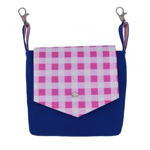 Поясная сумка женская Santa Lucia, текстиль, синий и розовая клетка
