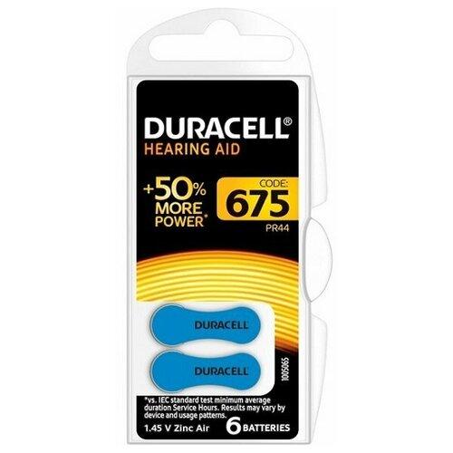Фото - Батарейки DURACELL ZA675 (PR44) для слуховых аппаратов (6 шт) батарейки duracell activeair nugget box za675 da675 6bl