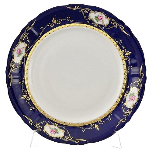 Фото - Блюдо круглое Соната Темно-синий орнамент с розами, мелкое, 32 см, Leander сервиз чайный соната темно синий орнамент с розами 15 пр 07160725 0440 leander