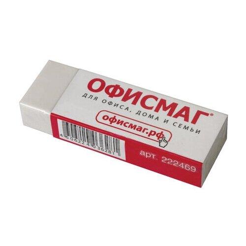 Фото - Ластик большой ОФИСМАГ, 60х20х11 мм, белый, прямоугольный, картонный держатель, 222469 - 6 шт. ластик прямоугольный синтетич каучук белый 39х19х10 мм index пакет