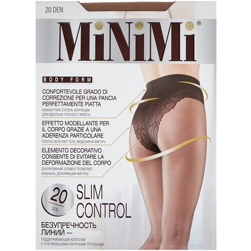 Фото - Колготки MiNiMi Slim Control, 20 den, размер 3-M, daino (бежевый) колготки minimi slim control 40 den размер 4 l daino бежевый